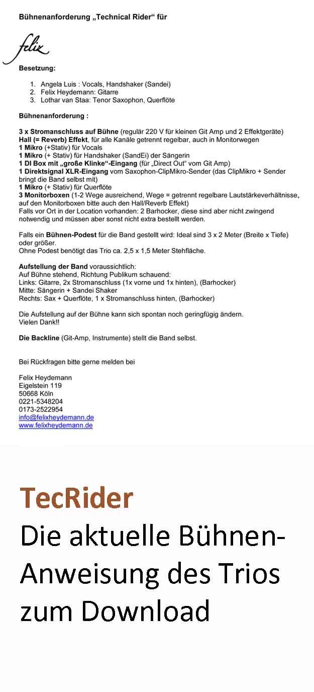 """Bühnenanforderung """"Technical Rider"""" für"""